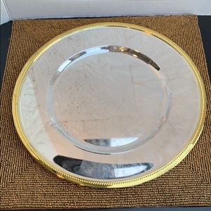 4 Gold trimmed Silver plate chargers. NWT